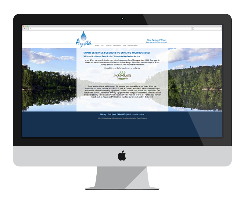 Aysta Water: Minnesota web design and development - retail