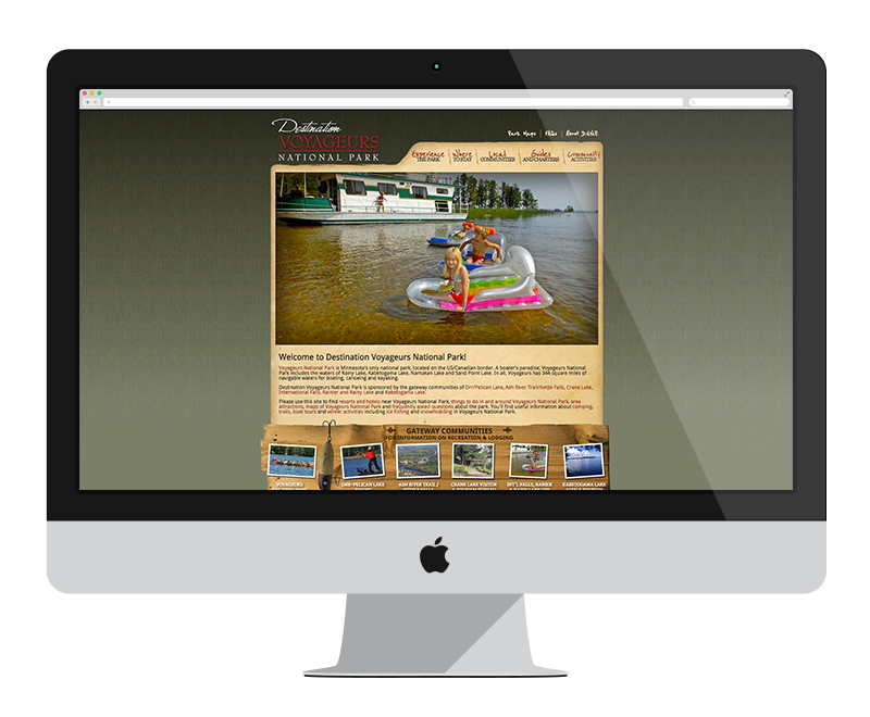 Destination Voyageur's National Park: Minnesota web design and development - tourism