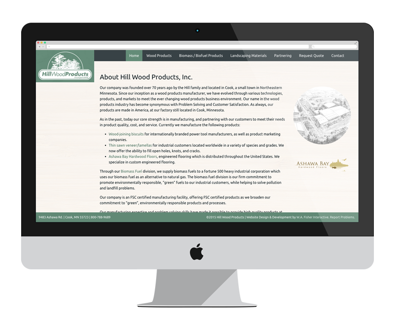 Hill Wood Products: Minnesota web design and development - manufacturing