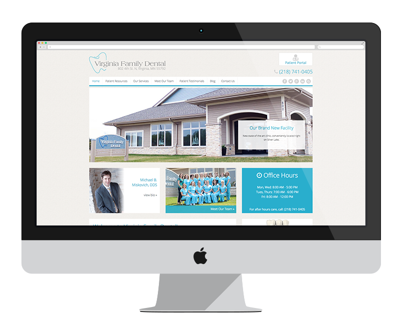Virginia Family Dental: Minnesota web design and development - professional services