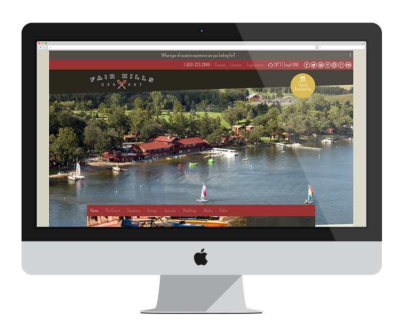 Fair Hills Resort: Minnesota web design and development - tourism