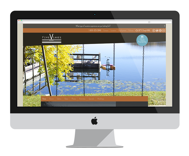 Five Lakes Resort: Minnesota web design and development - tourism