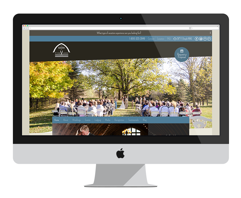 The Barn at Five Lakes: Minnesota web design and development: entertainment